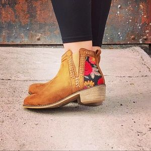 Tan Vegan Suede Slip On Bootie with Embroidery